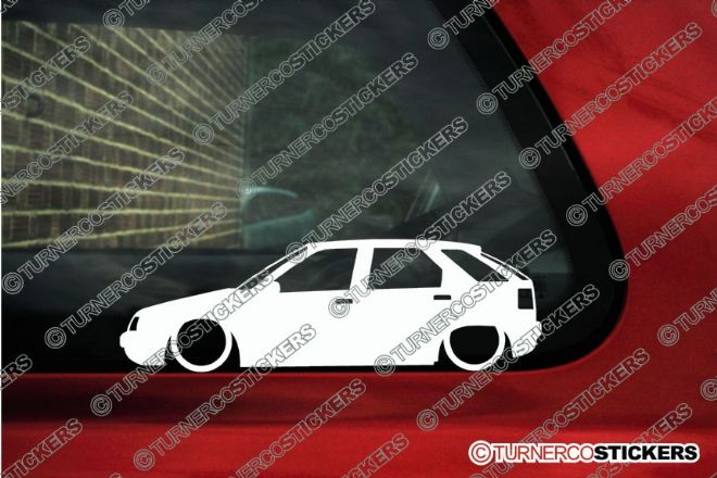 2x LOW Citroen ZX 5-Door Lowered car outline stickers
